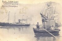 c1910 Red Star Line Antwerp to New York Boston Steamship Harbor Signed