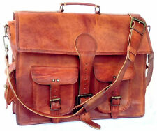 Handmade Rustic Durable Leather Men's Messenger Work Office Crossbody Brown bag