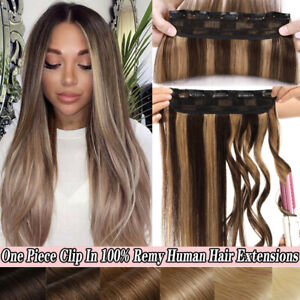 One Piece Clip In Remy Human Hair Extensions 3/4Full Head Thick Weft balayage 8A