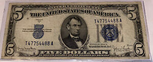 ⭐️T47754488A⭐️1934D⭐️SILVER CERTIFICATE, BLUE SEAL XF CONDITION⭐️3 PAIR SERIAL#