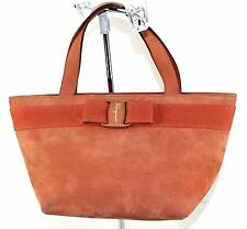 Salvatore Ferragamo Vara Orange Suede Leather Mini Evening Handbag Vintage Purse