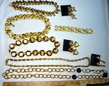 Lot of GOLD-TONED costume  jewelry - 5 necklaces - 1 bracelet - 3 earrings