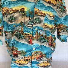 Hot Rods Horse Drive-Ins Palms Beach Men's 2XL- 3XL Short Sleeve Shirt  Button