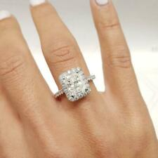 2.56 TCW Radiant Cut Moissanite Halo Engagement Ring In 14k White Gold Plated