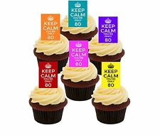 80th Birthday Keep Calm Edible Cupcake Toppers, Stand-up Wafer Cake Decorations