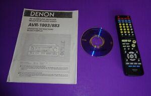 Denon AVR- 1803/883 AV Receiver Owner's Manual / Denon RC 916 Remote &  CD Disc