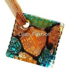 Silver Brown Square Lampwork Glass Murano Bead Pendant Ribbon Wax Cord Necklace