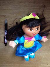 dora the explorer Princess Doll Soft Toy Blue Dress Appox 8 Inch
