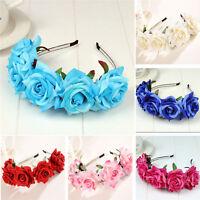 Rose Flower Crown Wedding Festival Headband Hairband Floral Garland HeadpiecEP