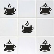 COFFEE CUP STEAM  X 15 VINYL TILE TRANSFERS STICKER DECAL FOR KITCHEN DECOR