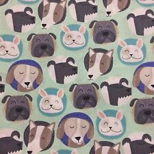 Smile Spot Dog Faces Cotton Quilting Patchwork Sewing Craft Fabric half 1/2 yard