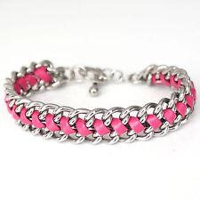 Damen Armband Edelstahl Kunstleder geflochten Knebelverschluss silber pink