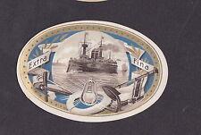 Ancienne étiquette Lytho médaillon BN19681 Bateau