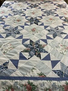 "Vintage Hand Quilted Star & Hour Glass Quilt Blue White 87x88"" full queen #647"