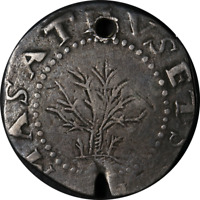 1652 Shilling Oak Tree Holed Choice F Details Nice Eye Appeal Nice Strike