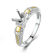 Round 6mm Natural Diamonds Citrine 14K White Gold Engagement Wedding Ladys Ring