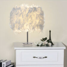Feather Shade Lamp Metal Vintage Elegant Table Bedside Desk Night Light Decor
