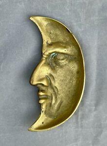 Antique Brass Half Moon Face Coin Dish Empty Pocket Vide Poche