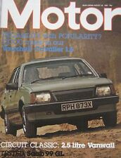 Motor magazine 28/8/1982 featuring SAAB 99 road test, Vanwall cutaway drawing
