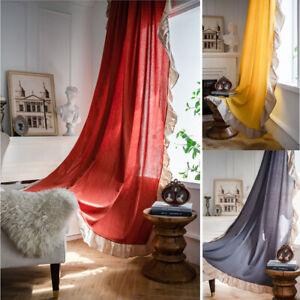 Curtain Cotton Ruffle For Living Room Window Bedroom Decor Drape Hotel Kitchen