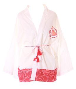 KJ-06-2 Weiß Japan Glückskatze Haori Über-Jacke Geisha Kimono Yukata Kawaii