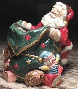 BEAUTIFUL FITZ & FLOYD CLASSICS CHRISTMAS SANTA CLAUS BAG CANDLE STICK HOLDER !!