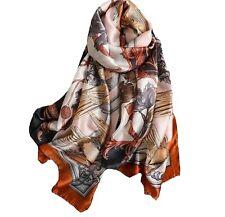 Silk Scarf Orange Beige Birds Printed Luxury Ladies Fashion Classic Long