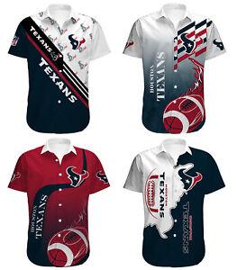 Houston Texans Men's Beach Shirt Casual Hawaiian Shirts Summer Button Down Tops
