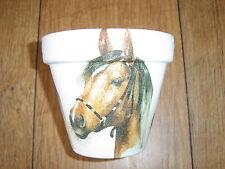 Hand Painted + Decoupaged Flower Pots 11 cm ( Terracotta ) Horses