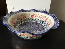 "Beautiful Boleslawiec Polish Pottery Ruffled Edge Bowl Red White Blue 9.5"""