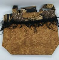BamziBags ladies handbag  brown feathers beads double handles canvas funky/fun