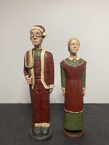 "Vintage Wolf Creek Folk Art Figure Lot American Gothic Christmas 8.5"" - 9.5"""