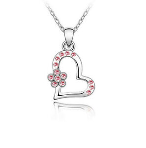 Fashion Women's Engagement Jewelry Crystal Heart Pendant Necklace Pink