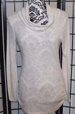 DEREK HEART Women's Large White Ribbed Cowl Neck Shirt Top Long Sleeve EUC