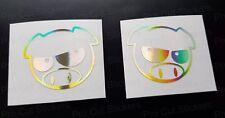 50mm (5cm) Angry Manga Pigs Gold Hologram Neo Chrome Subaru JDM Stickers Decals