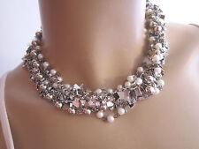 STRASS Collier Damen Hals Kette Modekette Modeschmuck kurz Perlen Weiss Silber 4
