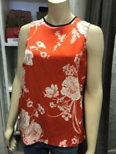 New Ex River Island Red / Orange White Floral Sleeveless Top Size 10