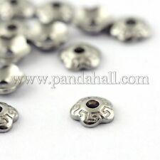 500x 304 Edelstahl Perlenkappen Tibet Blume Schmuck Bastel Silber Mandala Ohr