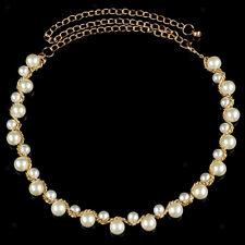 Elegant Ladies Pearl Beaded Metal Waist Chain Belt Gold for Women Dress