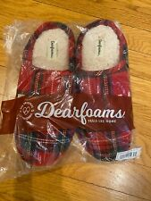 Women's Dearfoams Memory Foam Slippers Size M (7-8) New- red plaid