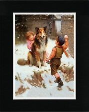 CHILDREN AND ROUGH COLLIE IN THE SNOW OLD STYLE DOG ART PRINT READY MATTED