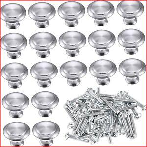 24 Pack Silver Cabinet Knobs Kitchen Round Drawer Dresser Handles Kitchen Round