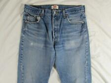 Levi 501 Button Fly Straight Leg Faded Denim Jeans Tag 35x36 Measure 33x32