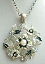 Ancien collier couleur argent cristaux perle émail noir beige bijou vintage 334