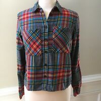 Topshop Women's Top Size 6 Red Blue Gray Plaid Blouse Shirt Long Sleeve