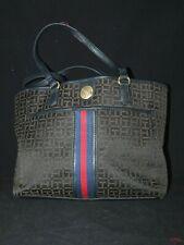 Tommy Hilfiger Shoulder Hand Bag Satchel Tote Jacquard Navy Blue Red Signature