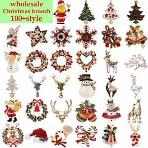 100+ Style Wholesale Christmas Enamel Elk Santa Claus Brooch Pins Women Jewelry