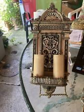 Antique Pr Very Detailed Bronze/brass Early 1925 Electric 2 Candle Sconces Origi