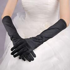 Paire de gants longs satin pour mariage : LONG 40 cm - coloris noir