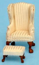 "1:48 1//4/"" Scale Queen Ann Armchair Stool Brown leather Dollhouse Furniture 2066"